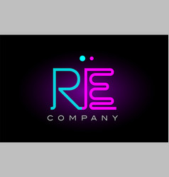 Neon lights alphabet re r e letter logo icon vector