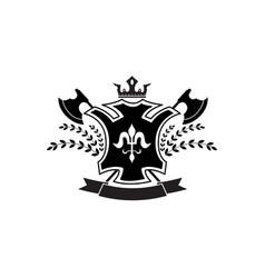 ornate heraldic coat arms badge with crossed vector image