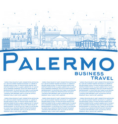 outline palermo italy city skyline with blue vector image