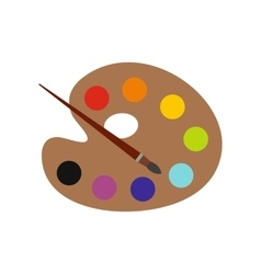 Palette with brush flat icon vector