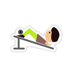 Paper sticker on white background man at gym vector