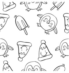 Pattern penguin and ice cream vector