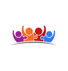 peoplepuzzle connected team of four logo vector image