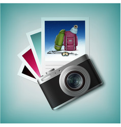 photo camera with snapshots vector image