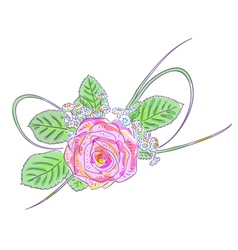 Pink rose and meadow flowers holiday arrangement vector