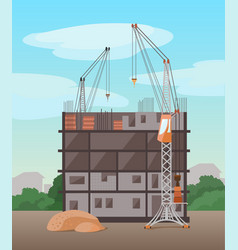 Process building multistory building flat vector