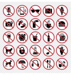 prohibiting signs forbidden eating guns animals vector image