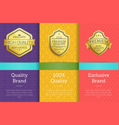 quality brand 100 guarantee exclusive labels set vector image