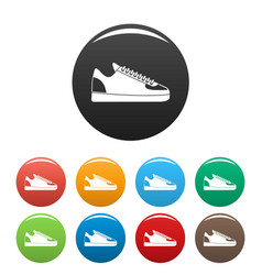 rap sneakers icons set color vector image
