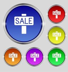 Sale price tag icon sign Round symbol on bright vector