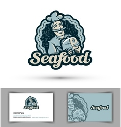 Seafood logo fresh fish cooking or vector