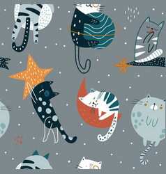 seamless childish pattern with funny cats in space vector image