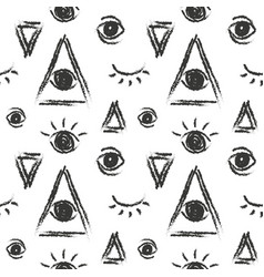 Seamless pattern with eye of providence vector