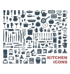 set high quality kitchen icons vector image