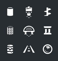set of bridge building icons vector image