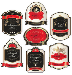 set of labels templates in baroque style vector image