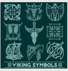 Set of viking symbols icons vector