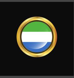 Sierra leone flag golden button vector