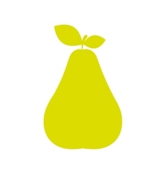 Silhouette green color pear with stem and leafs vector