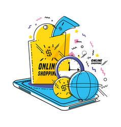 Smartphone with shopping online icons pop art vector