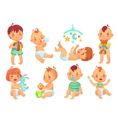 Smiling cartoon baby happy cute little kids vector