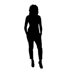 stylish girl in casual wear posing silhouette vector image