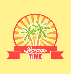 Summer time logo with fruits and ribbon rays vector