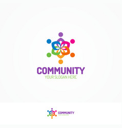 Support community logo consisting as team people vector