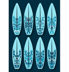 Surfboards set with blue kaleidoscope pattern vector