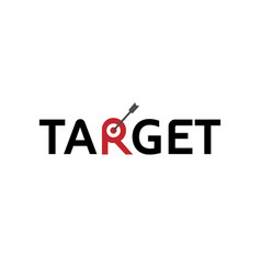 target arrow symbol text letter logo vector image