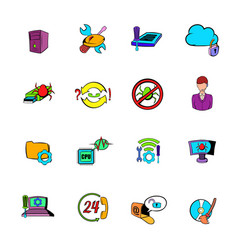 Technical support icons set cartoon vector