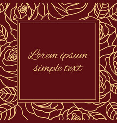tender beige outline roses frame copy space vector image
