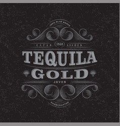 Tequila gold scratch label packaging curl decor vector