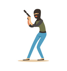 Thief in a black balaclava holding gun robbery vector