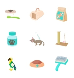 Veterinarian icons set cartoon style vector image