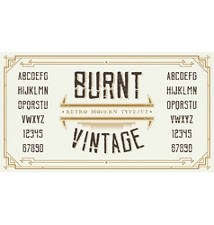 Vintage Retro Font with Sample Text Handcrafted vector