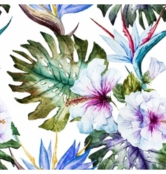 Watercolor hibiscus patterns vector image