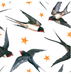 watercolor swallow pattern vector image