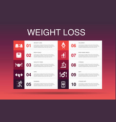 Weight loss infographic 10 option templatebody vector