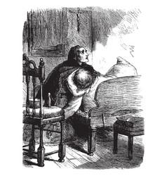 Woman praying vintage vector