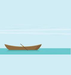 Wooden boat flat vector