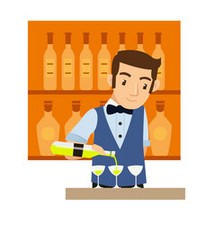 young male bartender mixing wine at bar vector image