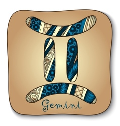 Zodiac sign - Gemini Doodle hand-drawn style vector image