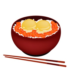 Bowl of Boiled Rice with Raw Egg and Salmon vector image