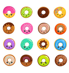 cute sweets donuts in japanese kawaii style vector image vector image