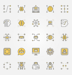 machine learning colorful icons set vector image