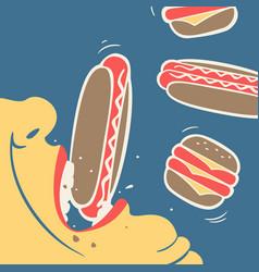 man eats fast food vector image