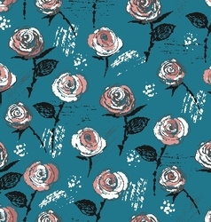 Seamless pattern ink vintage style roses vector image