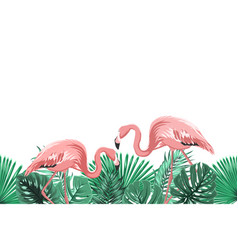 tropical green leaves pink flamingo footer element vector image vector image