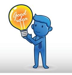Business Man Get Bulb vector image